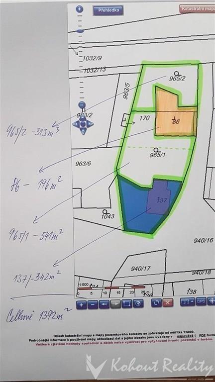 Exklusivně slunné dva stavební pozemky s rodinným domem o velikosti 2+1(120m2)+garáž+zahrada, 1392m2, Rejštejn